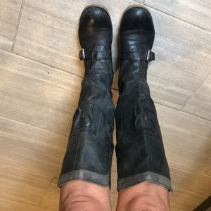 Nine West American collection black leather boots.
